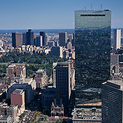 Massachusetts, Boston; Hancock Building And Downtown Boston Skyline; View From Observation Deck Of Prudential Tower