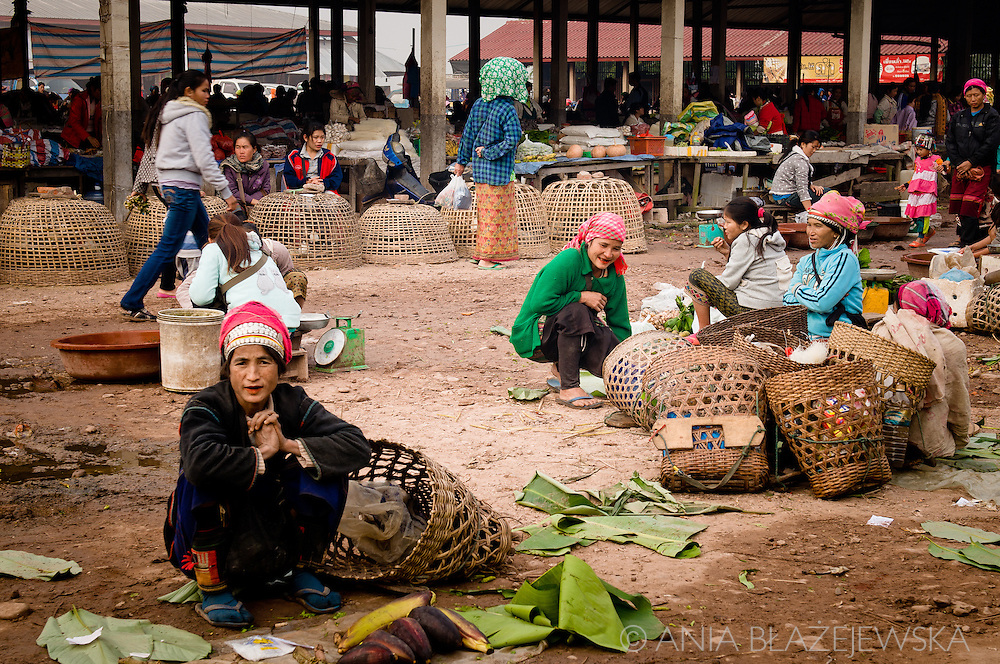 Laos, Muang Sing. The morning market in Muang Sing is a great opportunity for the people living in the villages nearby to products from their fields. <br />