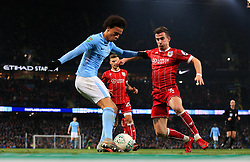 Leroy Sane of Manchester City takes on Joe Bryan of Bristol City  - Mandatory by-line: Matt McNulty/JMP - 09/01/2018 - FOOTBALL - Etihad Stadium - Manchester, England - Manchester City v Bristol City - Carabao Cup Semi-Final First Leg