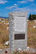 Images of Sacajawea's burial site at Sacajawea Cemetery, Fort Washakie, Wyoming, USA.