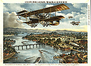Illustration of the Siberian War: In July 1918 Japan landed 72,000 troops in Vladivostock and spread through Eastern Siberia, claiming it as part of Japan. Japanese military biplanes.   Russia Chromolithograph 1919 Aeronautics