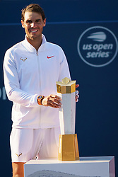 August 12, 2018 - Toronto, ON, U.S. - TORONTO, ON - AUGUST 12: Rafael Nadal (ESP) poses with the championship trophy after winning the Rogers Cup tennis tournament Final on August 12, 2018, at Aviva Centre in Toronto, ON, Canada. (Photograph by Julian Avram/Icon Sportswire) (Credit Image: © Julian Avram/Icon SMI via ZUMA Press)