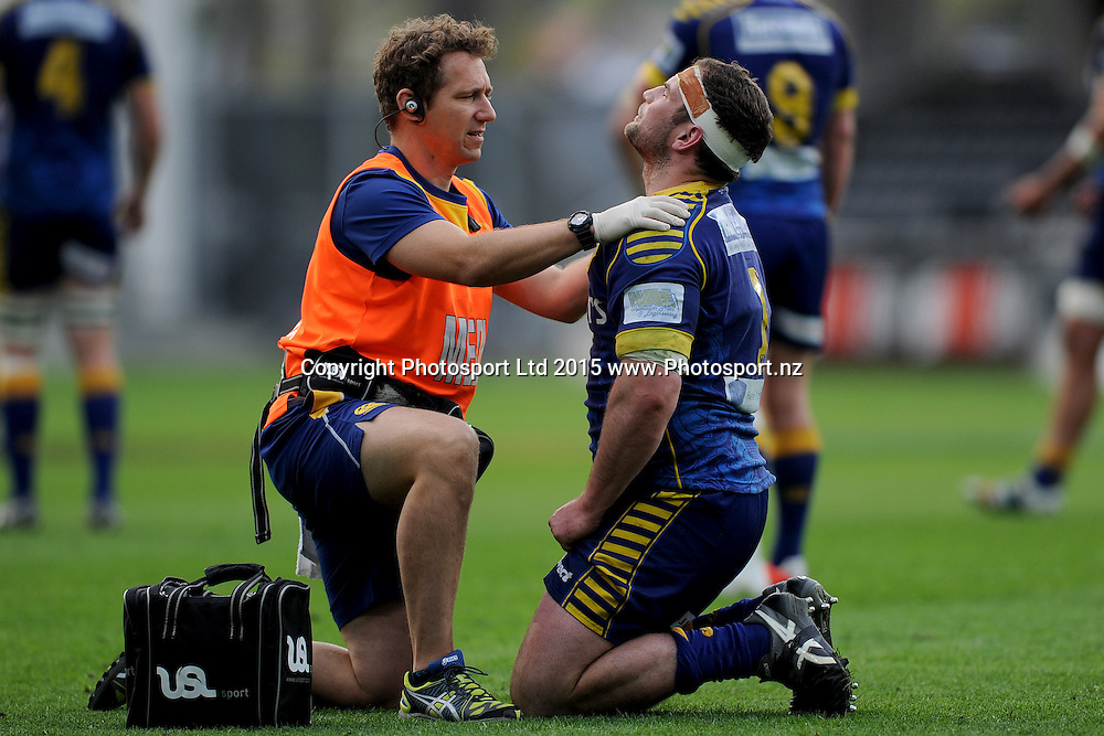 Craig Millar of Otago receives medical attention, during the ITM Cup match between Otago and Bay of Plenty, Forsyth Barr Stadium, Dunedin, New Zealand, 11 October 2015. Credit: Joe Allison / www.Photosport.nz