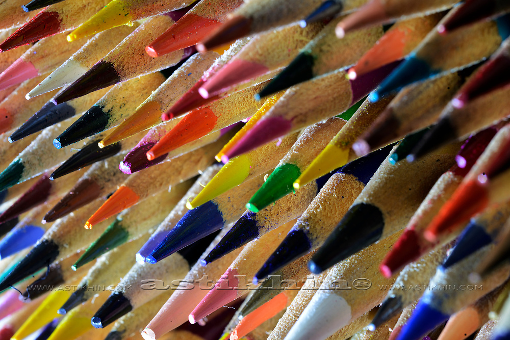 Large assortment of multi-colored pencil.