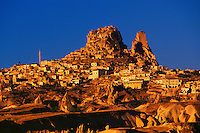 View of Uchisar and Uchisar Castle (Rock Fortress) from hot air balloon, Cappadocia, Turkey