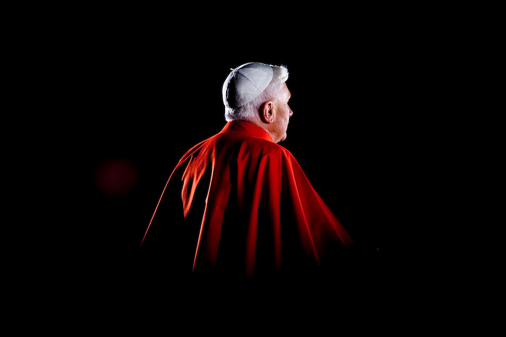 Pope Benedict XVi leads his first Via Crucis, way of the Cross,part of the solemn celebrations of Easter's Holy Week at the Roman Colisseum in central Rome.