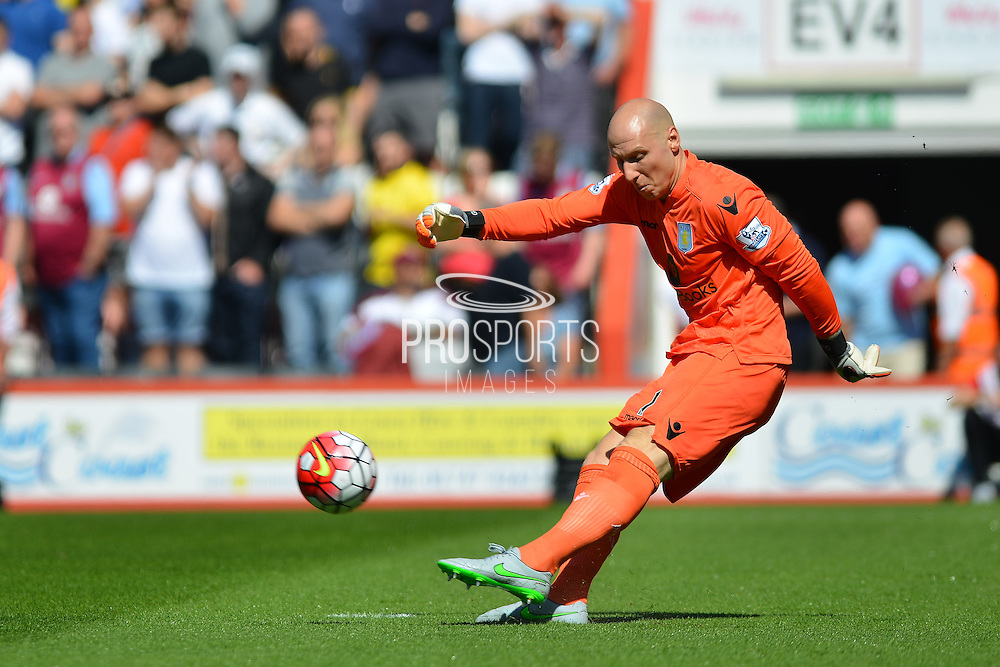 Aston Villa's Goalkeeper Bradley Guzan during the Barclays Premier League match between Bournemouth and Aston Villa at the Goldsands Stadium, Bournemouth, England on 8 August 2015. Photo by Mark Davies.