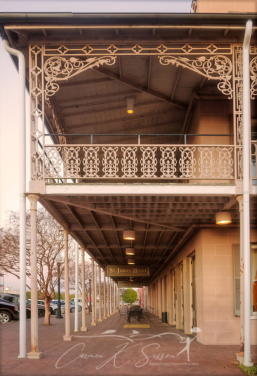 Intricate wrought iron adorns the balcony at the St. James Hotel, Feb. 14, 2015, in Selma, Alabama. The hotel was built in 1837 and is believed to be one of the only surviving riverfront antebellum hotels in existence. (Photo by Carmen K. Sisson/Cloudybright)