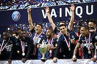 Joie PSG - Blaise MATUIDI / Jean Christophe BAHEBECK / Thiago SILVA / Lucas MOURA / Javier PASTORE - 30.05.2015 - Auxerre / Paris Saint Germain - Finale Coupe de France<br />Photo : Andre Ferreira / Icon Sport