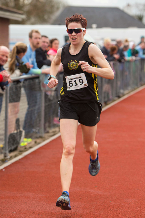 12/03/2017, Bohermeen AC 10k road Race & Half Marathon<br /> Karen Costello (Dunleer AC) crosses the finish line to win the ladies section of the Bohermeen AC half marathon <br /> David Mullen / www.cyberimages.net<br /> ISO: 400; Shutter: 1/1250; Aperture: 4; <br /> File Size: 2.3MB<br /> Actuations: