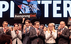 27.01.2018, Olympiaworld, Innsbruck, AUT, Tiroler Landtagswahl, 23. Landesparteitag ÖVP Tirol, Wahlkampf - Auftaktveranstalltung der Tiroler Volkspartei zur bevorstehenden Lantagwahl, im Bild Bundeskanzler Sebastian Kurz, LH Günther Platter, BM Margarete Schramböck, LH-Stv. Josef Geisler // during the 23rd State Party of Austrian People's Party to the upcoming Tyrolean state election at the Olympiaworld in Innsbruck, Austria on 2018/01/27. EXPA Pictures © 2018, PhotoCredit: EXPA/ Johann Groder