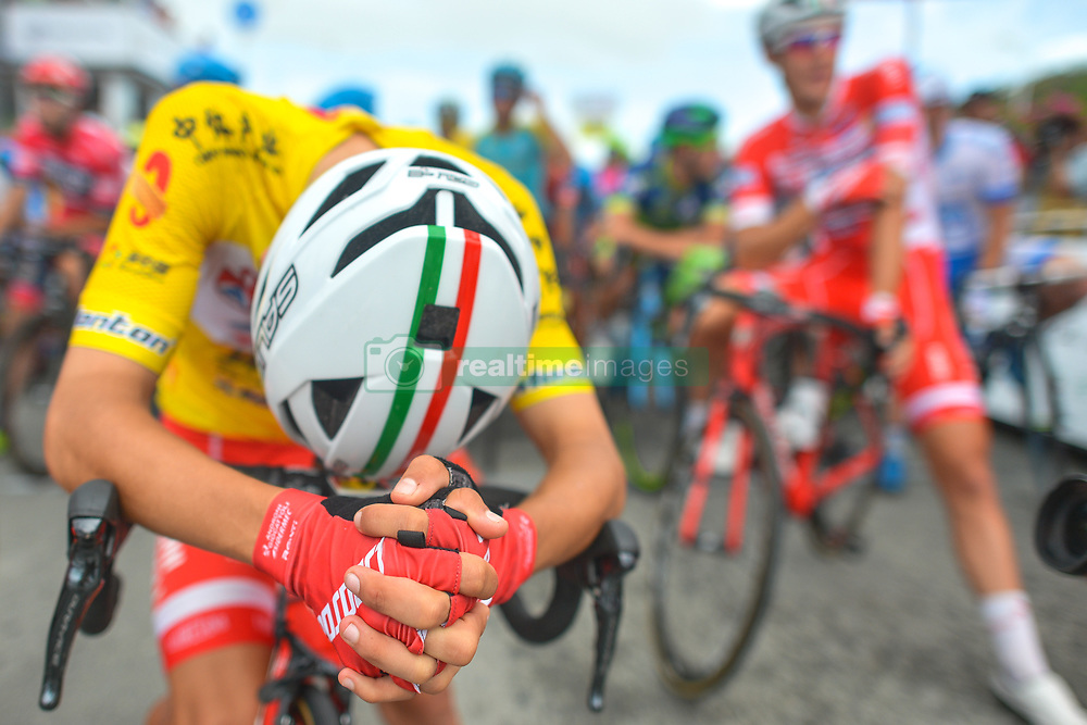 September 24, 2017 - Zhuhai, Guangdong, China - Kevin Rivera Serran from Androni Sidermec Bottecchia team, in the Yellow Leader Jersey, awaiting for the start to the fifth and final stage of the 2017 Tour of China 2, the 91.2km Zhuhai Hengqin Circuit Race. .On Sunday, 24 September 2017, in Hengqin district, Zhuhai City, Guangdong Province, China. (Credit Image: © Artur Widak/NurPhoto via ZUMA Press)