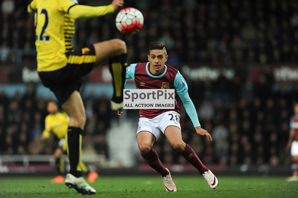 West Hams Manuel Lanzini in action during the West Ham v Watford match in the Barclays Premier League on the 20th April 2016.