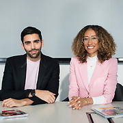 December 14, 2016 - New York, NY : From left, Phillip Picardi, Digital Editorial Director at Teen Vogue, and Elaine Welteroth, Editor-in-Chief of Teen Vogue, pose for a portrait in Condé Nast's Teen Vogue offices in One World Trade in Manhattan on Wednesday afternoon. CREDIT: Karsten Moran for The New York Times