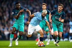 Sergio Aguero of Manchester City takes on Victor Wanyama and Jan Vertonghen of Tottenham Hotspur - Mandatory by-line: Robbie Stephenson/JMP - 17/04/2019 - FOOTBALL - Etihad Stadium - Manchester, England - Manchester City v Tottenham Hotspur - UEFA Champions League Quarter Final 2nd Leg