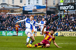 Rory Gaffney of Bristol Rovers is tackled by Nat Knight-Percival of Bradford City  - Rogan/JMP - 20/01/2018 - FOOTBALL - Memorial Stadium - Bristol, England - Bristol Rovers v Bradford City - EFL Sky Bet League One.