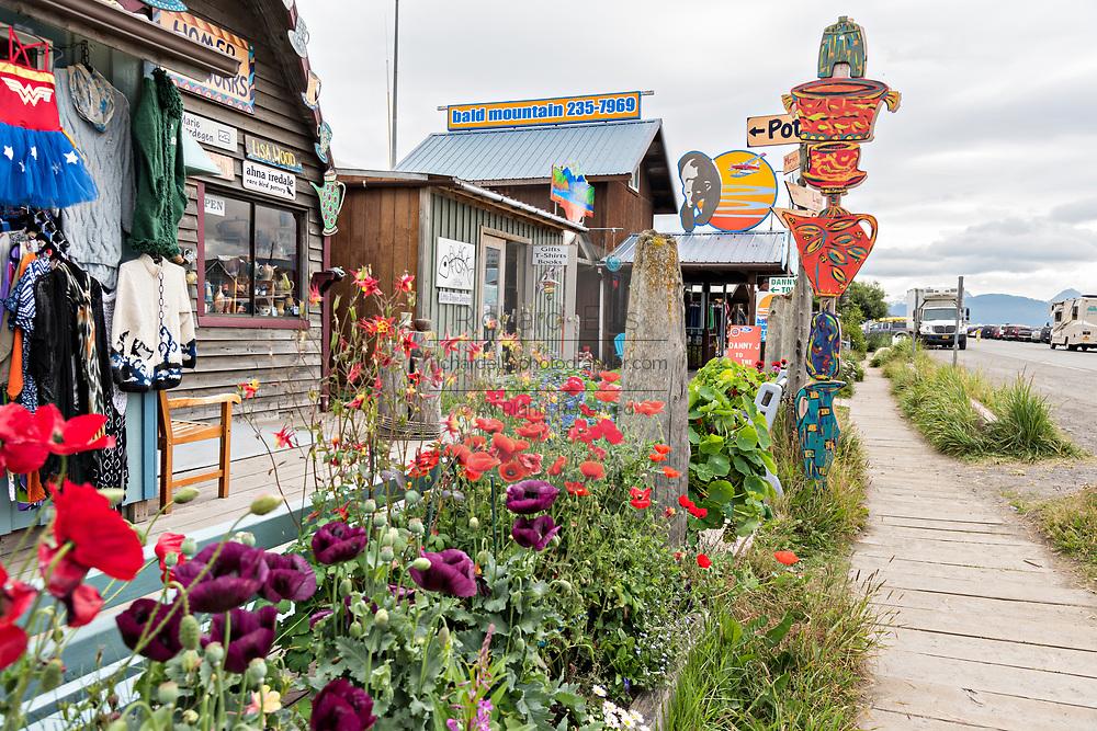 Quirky shops on Homer Spit on Kamishak Bay in Homer, Alaska.