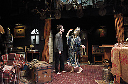 No Quarter <br /> by Polly Stenham<br /> <br /> at The Royal Court Theatre, London, Great Britain <br /> <br /> 15th January 2013 <br /> <br /> <br /> Maureen Beattie as Lily <br /> Tom Sturridge as Robin <br /> Zoe Boyle as Scout <br /> Taron Egerton as Tommy <br /> Joshua James as Arlo <br /> Tom Sturridge as Robin <br /> <br /> Photograph by Elliott Franks