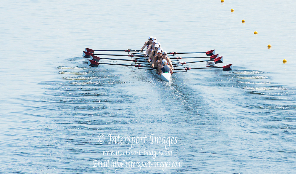 Hamburg. GERMANY.  USA JW8+. Friday, Morning Quarter Finals at the 2014 FISA Junior World rowing. Championships.  12:46:13  Friday  08/08/2014  [Mandatory Credit; Peter Spurrier/Intersport-images]