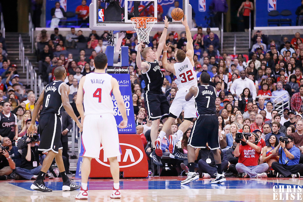 16 November 2013: Los Angeles Clippers power forward Blake Griffin (32) goes for the skyhook over Brooklyn Nets power forward Mason Plumlee (1) during the Los Angeles Clippers 110-103 victory over the Brooklyn Nets at the Staples Center, Los Angeles, California, USA.