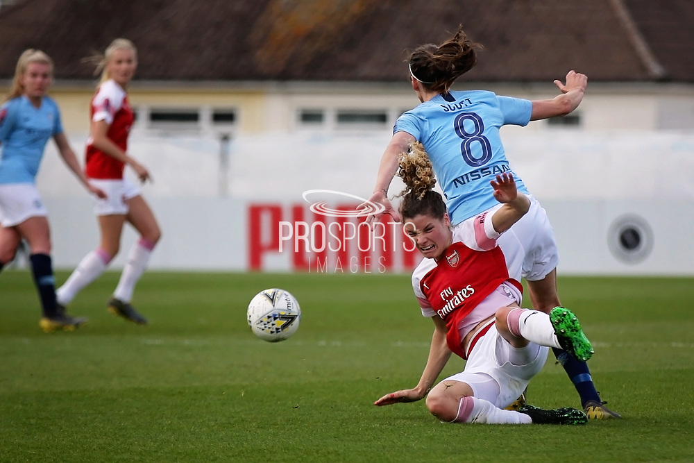Arsenal midfielder Dominique Bloodworth (20) is fouled by Manchester City midfielder Jill Scott (8) during the FA Women's Super League match between Arsenal Women FC and Manchester City Women at Meadow Park, Borehamwood, United Kingdom on 12 May 2019.