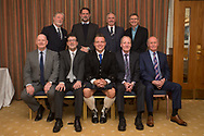 09/02/2017 - Top table guests at Dundee FC Hall of fame dinner at the Invercarse Hotel, Dundee; <br /> <br /> Back row (left to right) Bob Hynd (Dundee director), John Nelms (Dundee managing director), Steve Martin (Dundee director), John Gahagan (speaker); <br /> Front row (left to right) Gordon Flavell son of inductee Bobby Flavell, inductee Cammy Fraser, inductee Gavin Rae, inductee Eric Sinclair, David Thomson grandson of inductee David 'Napper' Thomson<br /> <br /> <br />   Picture by David Young -