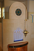 France, Paris, Interior of a synagogue The Ten Commandments on a wall