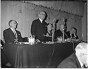 """18/01/1962.01/18/1962.18 January 1962.Launching of Freedom from Hunger Campaign.A """"freedom from Hunger"""" campaign, was officially launched at a meeting in the Gresham Hotel, Dublin, by the Irish Red Cross Society at the Governments request in response to a United Nations Appeal..The Tanaiste and Minister for Health, Mr. Sean McEntee addresses the meeting. Also present are (l-r); Mr M. Viellet-Lavallee, Food and Agricultural Organisation of the U.N.; Mrs Tom Barry, Chairman Irish Red Cross Society; Most Rev. Dr. W. Conway, Bishop of Neve; and the Minister for Agriculture Mr. P. Smith T.D.."""
