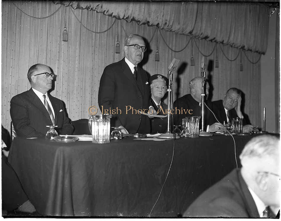 "18/01/1962.01/18/1962.18 January 1962.Launching of Freedom from Hunger Campaign.A ""freedom from Hunger"" campaign, was officially launched at a meeting in the Gresham Hotel, Dublin, by the Irish Red Cross Society at the Governments request in response to a United Nations Appeal..The Tanaiste and Minister for Health, Mr. Sean McEntee addresses the meeting. Also present are (l-r); Mr M. Viellet-Lavallee, Food and Agricultural Organisation of the U.N.; Mrs Tom Barry, Chairman Irish Red Cross Society; Most Rev. Dr. W. Conway, Bishop of Neve; and the Minister for Agriculture Mr. P. Smith T.D.."