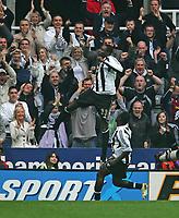 Photo: Andrew Unwin.<br /> Newcastle United v Bolton Wanderers. The Barclays Premiership. 15/10/2006.<br /> Newcastle's Shola Ameobi (L) celebrates scoring his team's first goal.