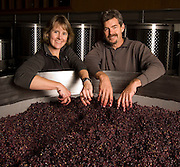 Portrait of Ron and Lynn Penner-Ash during crush in in their Yamhill-Carlton winery, Willamette Valley, Oregon