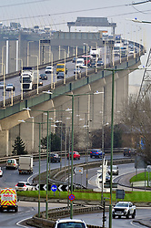 &copy; Licensed to London News Pictures.22/12/2017.<br /> Dartford, UK.<br /> Traffic at the Dartford Crossing.<br /> Frantic Friday Christmas traffic chaos on the M25.<br /> Photo credit: Grant Falvey/LNP