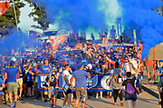 FC Cincinnati fans march into Nippert Stadium prior to the MLS soccer game between FC Cincinnati and the Chicago Fire, Saturday, September 21, 2019, in Cincinnati, OH. Chicago tied Cincinnati 0-0. (Jason Whitman/Image of Sport)