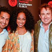 NLD/Amsterdam/20110418 - Persconferentie TMF Awards 2011, Amir Blumenfeld, Veronica van Hoogdalem en Marco Borsato