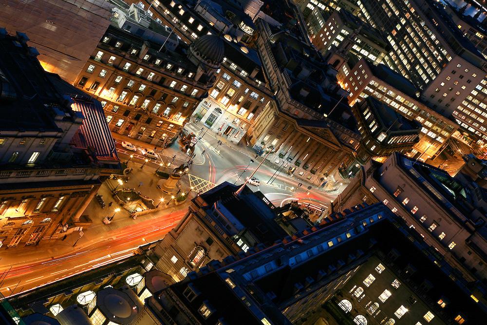 Bank London Night Aerial royal exchange