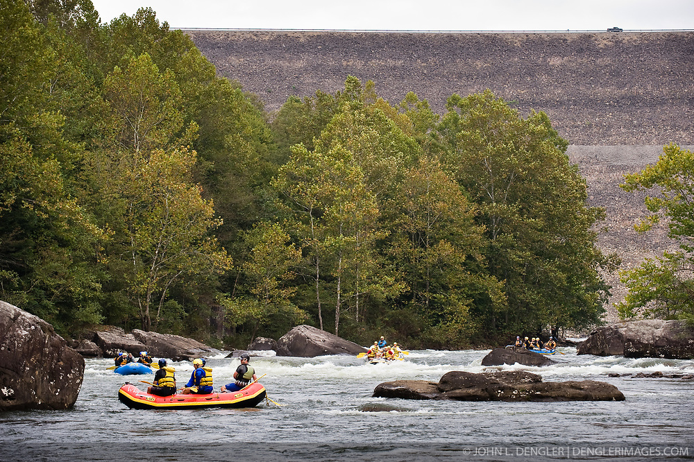 Whitewater kayakers and rafters on the Gauley River near Summersville Dam during American Whitewater's Gauley Fest weekend. The upper Gauley, located in the Gauley River National Recreation Area is considered one of premier whitewater rivers in the country.