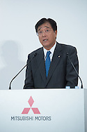 OCTOBER 20: Mitsubishi Motors Corp. CEO Osamu Masuko speaks during a joint press conference with Nissan Motor Co. CEO Carlos Ghosn in Tokyo, Thursday, Oct. 20, 2016. Ghosn said he will become chairman of Mitsubishi Motors, presiding over efforts to turn the troubled automaker around. The Brazilian-born Frenchman, who already heads Nissan and Renault, said Mitsubishi's Masuko would stay on as CEO.20/10/2016-Tokyo, JAPAN