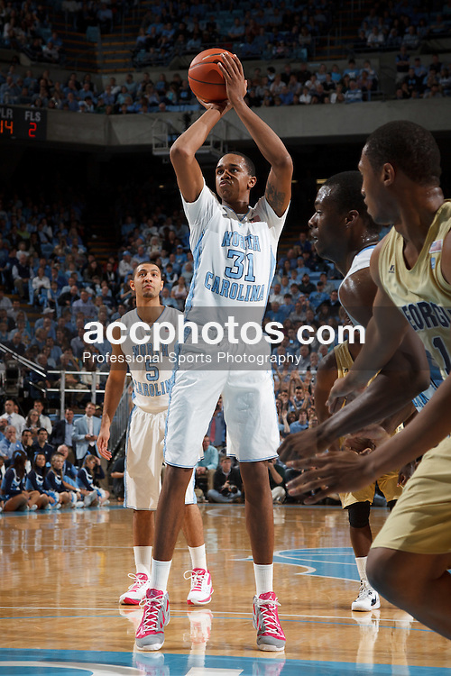 CHAPEL HILL, NC - JANUARY 29: John Henson #31 of the North Carolina Tar Heels shoots a foul shot during a game against the Georgia Tech Yellow Jackets on January 29, 2012 at the Dean E. Smith Center in Chapel Hill, North Carolina. North Carolina won 81-93. (Photo by Peyton Williams/UNC/Getty Images) *** Local Caption *** John Henson