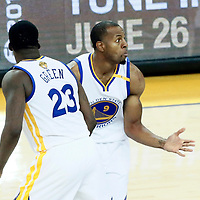 12 June 2017: Golden State Warriors forward Andre Iguodala (9) celebrates with Golden State Warriors forward Draymond Green (23) during the Golden State Warriors 129-120 victory over the Cleveland Cavaliers, in game 5 of the 2017 NBA Finals, at the Oracle Arena, Oakland, California, USA.