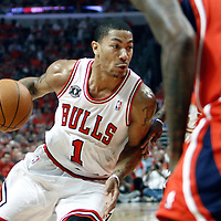 10 May 2011: Chicago Bulls point guard Derrick Rose (1) dribbles during the Chicago Bulls 95-83 victory over the Atlanta Hawks, during game 5 of the Eastern Conference semi finals at the United Center, Chicago, Illinois, USA.