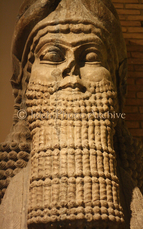 Human-headed winged bull (or Šedu) statue. Assyrian (circa 710-705 BC). Taken from Khorsabad. A protective spirit statue used to guard palace doorways.