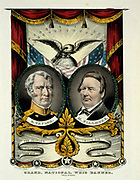 Whig party banner for the election of Major General Zachary Taylor  (1784-1850) as  12th President of the United States of America (1849-1850)  and his Vice-President Millard Fillmore. Fillmore became 13th President on Taylor's death and served until 1853.