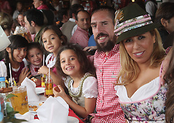 05.10.2014, Theresienwiese, München, GER, 1. FBL, FC Bayern Muenchen am Oktoberfest, im Bild Franck Ribery (2ndR) of FC Bayern Muenchen, his wife Wahiba Ribery and their children attend the Oktoberfest 2014 beer festival at Kaefers Wiesenschaenke at Theresienwiese on 2014/10/05. EXPA Pictures © 2014, PhotoCredit: EXPA/ Eibner-Pressefoto/ Pool<br /> <br /> *****ATTENTION - OUT of GER*****