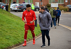 DERBY, ENGLAND - Friday, March 8, 2019: Liverpool's Alex Oxlade-Chamberlain walks to the pitch for his warm-up before the FA Premier League 2 Division 1 match between Derby County FC Under-23's and Liverpool FC Under-23's at the Derby County FC Training Centre. (Pic by David Rawcliffe/Propaganda)