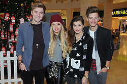 © Licensed to London News Pictures. 28/11/2014<br /> LTR   Only The Young.<br /> Mikey Bromley  19 <br /> Betsy-Blue English 18<br /> Parisa  Tarhomani 20<br /> Charlie George 17<br />  X-Factor stars Only The Young  were at Bluewater in Kent today (28.11.2014) to join in the fun at Winter Wonderland and see Santa.<br /> (Byline:Grant Falvey/LNP)