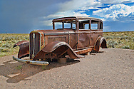 Rusted old car on route 66,Painted Desert,Arizona,