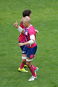 Sergio Parisse (Stade Francais) scored a try and celebrated it with Jono Ross (Stade Francais) during the French Championship Top 14 Rugby Union match between Stade Francais Paris and Racing Metro 92 on April 30, 2017 at Jean Bouin stadium in Paris, France - Photo Stephane Allaman / ProSportsImages / DPPI