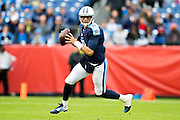 NASHVILLE, TN - NOVEMBER 29:  Marcus Mariota #8 of the Tennessee Titans rolls out looking for a receiver  during a game against the Oakland Raiders at Nissan Stadium on November 29, 2015 in Nashville, Tennessee.  The Raiders defeated the Titans 24-21.  (Photo by Wesley Hitt/Getty Images) *** Local Caption *** Marcus Mariota