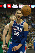Philadelphia 76ers Ben Simmons (25) celebrates during the NBA London Game match between Philadelphia 76ers and Boston Celtics at the O2 Arena, London, United Kingdom on 11 January 2018. Photo by Martin Cole.