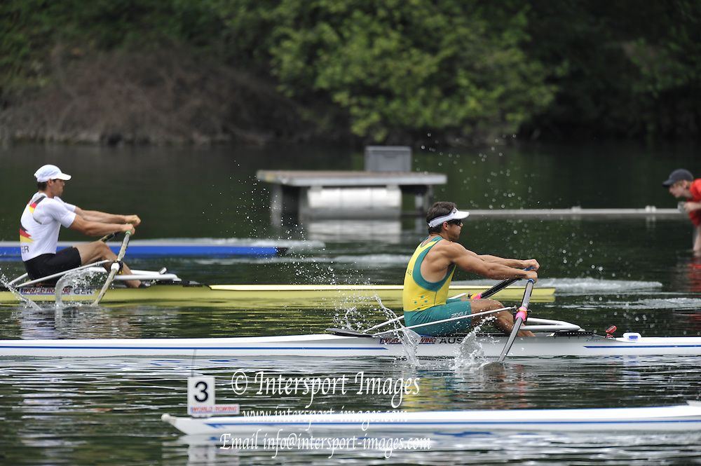 Lucerne, Switzerland. AUS M1X, move away from the start Pontoon. 2010 FISA World Cup. Lake Rotsee, Lucerne.  13:24:11   Friday  09/07/2010.  [Mandatory Credit Peter Spurrier/ Intersport Images]